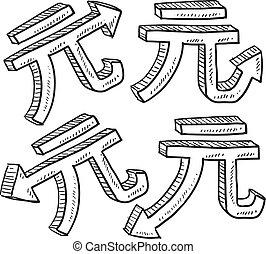 moeda corrente, esboço, yuan, chinês, valor