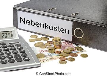 moeda corrente, fichário, calculadora, nebenkosten