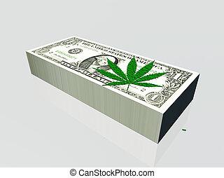 moeda corrente, folha, marijuana, nós, pilha