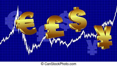 moeda corrente, gráfico, fundo, dinheiro