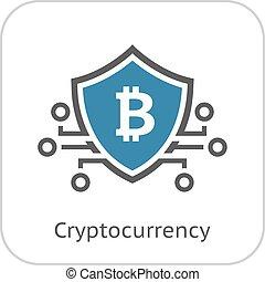 moeda corrente, icon., bitcoin, crypto
