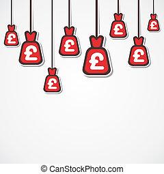 moeda corrente, libra, fundo, saco