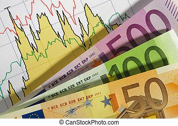moeda corrente, mapa financeiro, euro