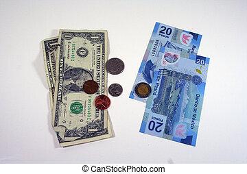 moeda corrente, mexicano, nós