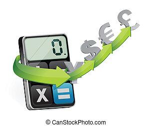 moeda corrente, modernos, câmbio