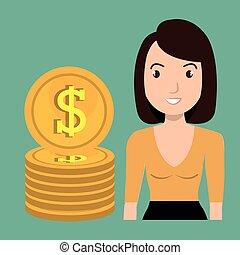 moeda corrente, mulher, dólar, dinheiro