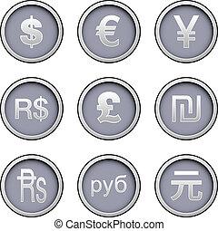 moeda corrente mundo, ícone, jogo