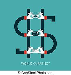 moeda corrente mundo, vetorial, conceito, em, apartamento, estilo