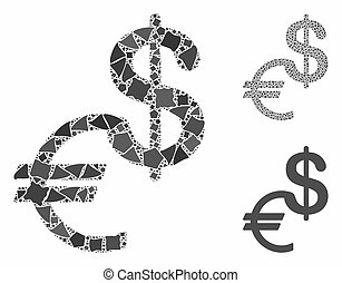 moeda corrente, partes, ícone, raggy, mosaico