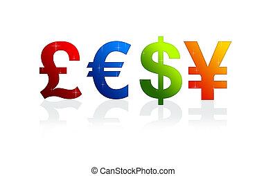 moeda corrente, sinais