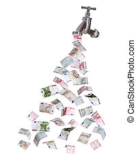 moeda corrente, torneira, europeu, saída, fluir