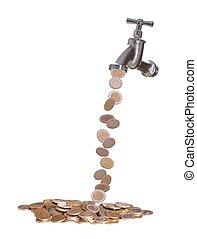 moeda corrente, torneira, gotas, europeu, saída