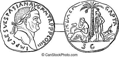 moeda corrente, vespasian, vindima, engraving.