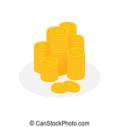 moeda, finanças, dólar, stack., moedas, illustration., montão, vetorial, pile., ouro, estoque