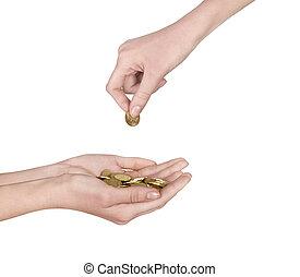 moeda, mão feminina
