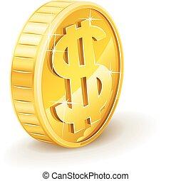 moeda ouro, com, sinal dólar