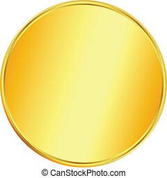 moeda, ouro, em branco