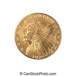 moeda ouro, indianas, quarto, águia