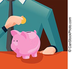 moeda, poupar, conceito, dinheiro, -, ilustração, vetorial, pôr, piggy, futuro, investimento, banco, homem