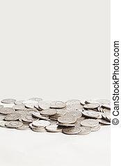 moedas, brilhante, prata