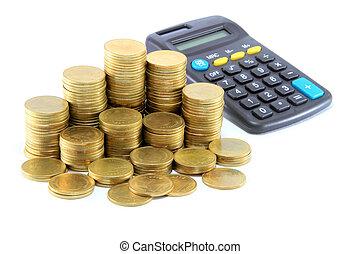 moedas, calculadora, rato computador