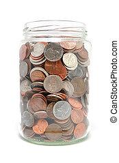 moedas, cheio, jarro