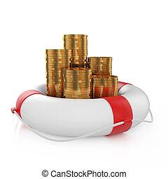 moedas, com, lifebuoy