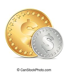moedas, dólar, dois, ilustração, sinal, vetorial