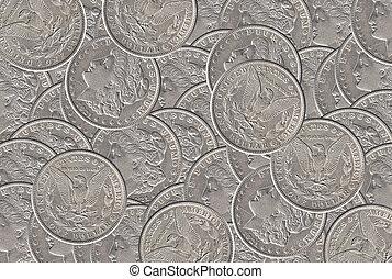 moedas, dólar, prata, fundo
