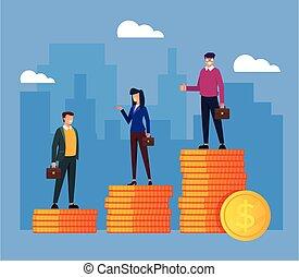 moedas., desenho, ficar, gráfico, trabalhadores, vetorial, isolado, dourado, ilustração, diferença, escritório, pessoas negócio, salário, caricatura, apartamento, concept., renda, pilha, diferente