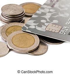 moedas, e, cartões crédito