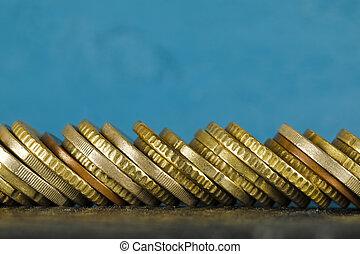 moedas, empilhado, lado, euro