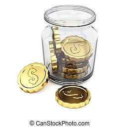 moedas, jarro