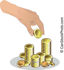 moedas, mão