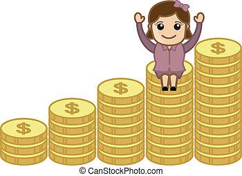 moedas, mulher, ouro, sentando
