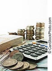 moedas, notas, e, calculadora