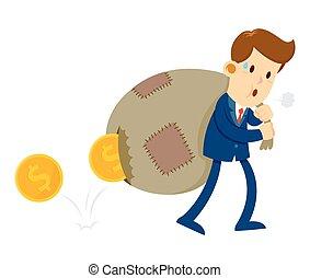 moedas ouro, aquilo, saco, carregar, homem negócios, buraco