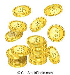 moedas ouro, dólar, acima, sinais, gotas