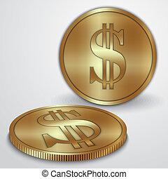 moedas ouro, dólar, ilustração, sinal, moeda corrente, vetorial