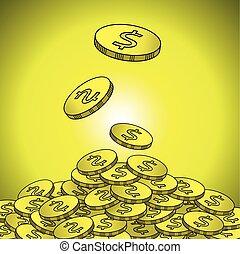 moedas ouro, dólar, ilustração, sinal