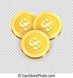moedas ouro, dólar, isolado, ilustração, sinais, brilhante