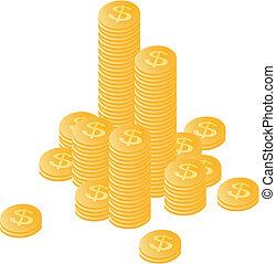 moedas ouro, empilhado, por, um, montanha, e, separately