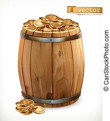 moedas., ouro, madeira, treasure., vetorial, barril, 3d, ícone