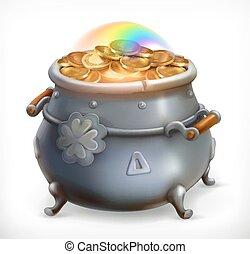 moedas., ouro, pote, treasure., patrick's, vetorial, 3d, dia, ícone