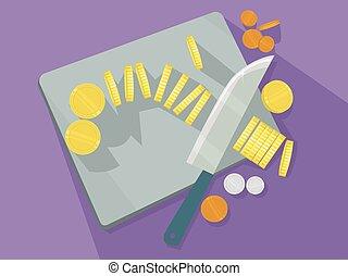 moedas ouro, tábua cortante, ilustração