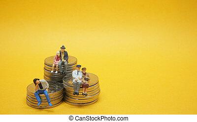 moedas., pessoas negócio, concept., sentando, pilha, prata