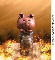 moedas, piggy, fire.