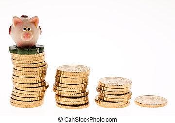 moedas, piggy, moeda, pilha, banco, euro