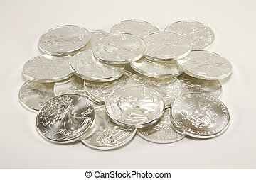moedas, pilha, prata