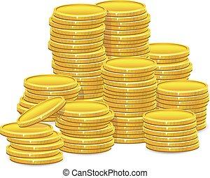 moedas, pilhas, ouro